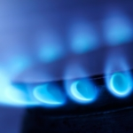 Blue flame of gas on a cooker