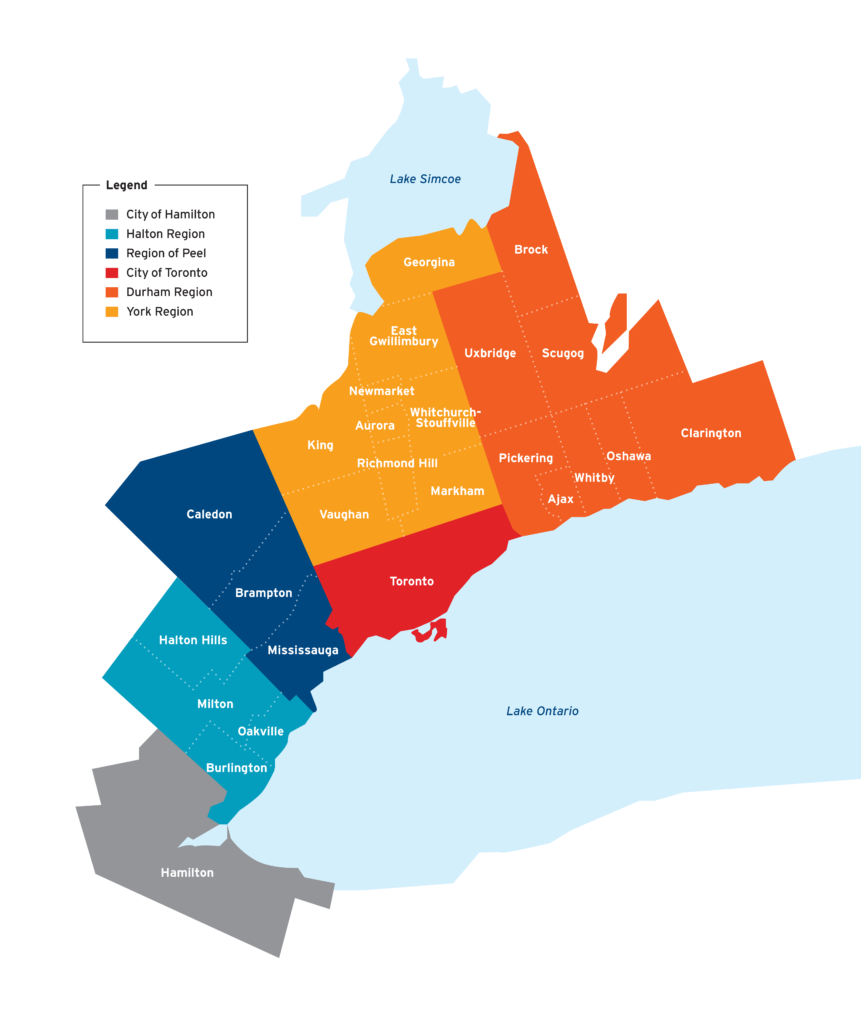 Map of the Greater Toronto and Hamilton (GTHA) area