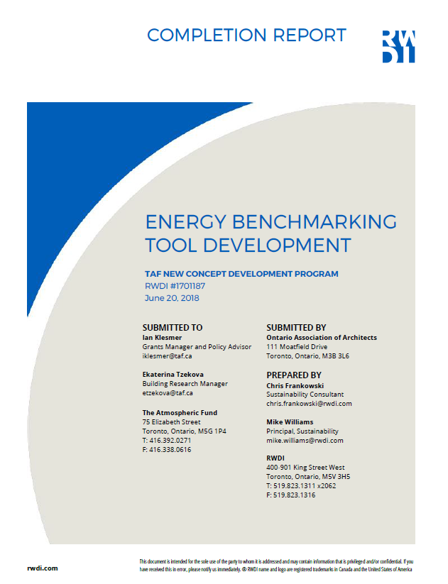 energy benchmarking tool completion report cover